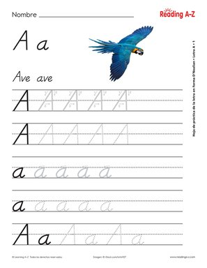 spanish alphabet letter formation practice worksheets raz plus. Black Bedroom Furniture Sets. Home Design Ideas