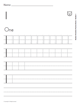 Print Number Formation Practice Sheets